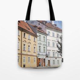 Buildings on a Cobblestone Street in Prague Tote Bag