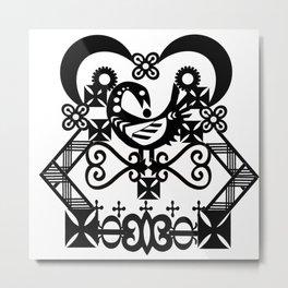 Black and White Adinkra Kwanzaa Print Metal Print