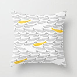 Cute Fish on Grey Background Throw Pillow
