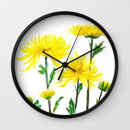 yellow chrysanthemum Wall Clock