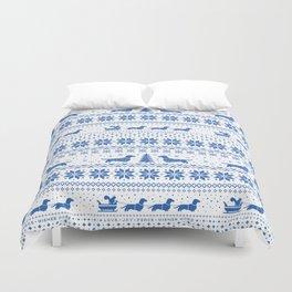 Love Joy Peace Wiener Dogs Blue Pattern Duvet Cover