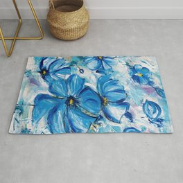 Abstract Blue Poppies Rug