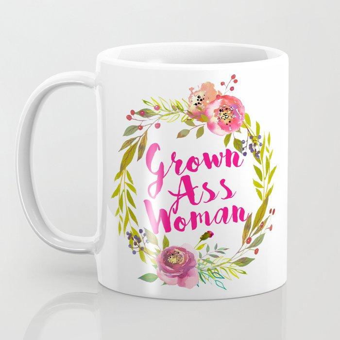 grown ass woman hot pink floral wreath Coffee Mug