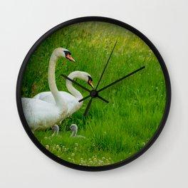 Swans Family Wall Clock