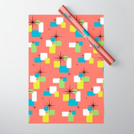Living Coral Retro Inspired Wrapping Paper