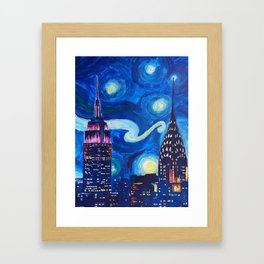 Painting Starry night in new york vincent van gogh Framed Art Print