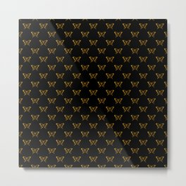 Metallic Gold Foil Butterflies on Black Metal Print