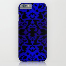 Magic ornament of blue spots and velvet blots on black. iPhone Case