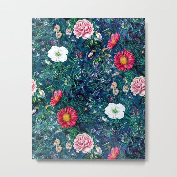 Spring Flowers Dark Metal Print