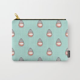 Great White Shark Heads in Grey with Aqua Ocean Water Carry-All Pouch