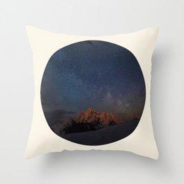 The Milky Way Galaxy & Snow Mountains Throw Pillow