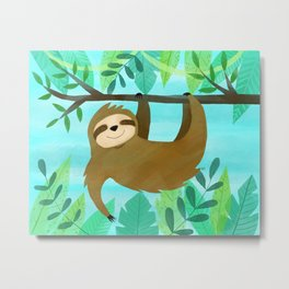 Cute Sloth Metal Print