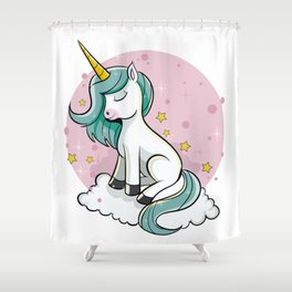 Cute Unicorn - Rainbow Pixie Dust Magic Horse Star Shower Curtain
