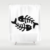 pisces Shower Curtains featuring Pisces by muchö