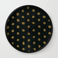 gold dots Wall Clocks featuring GOLD DOTS by natalie sales