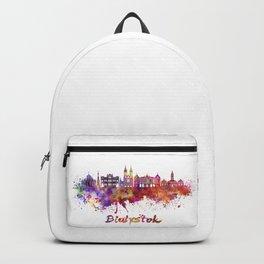 Bialystok skyline watercolor splatters Backpack