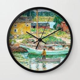 Oyster Sloop, Cos Cob - Digital Remastered Edition Wall Clock