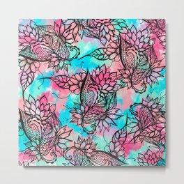Modern floral watercolor hand drawn fall trend Metal Print