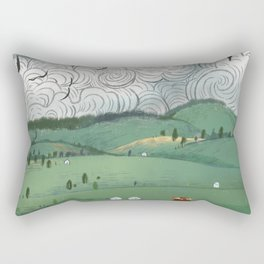 Girl And Fly Birds Rectangular Pillow