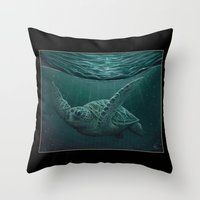 """biology Throw Pillows featuring """"Eclipse"""" - Green Sea Turtle, Acrylic by Amber Marine"""
