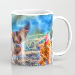 Abstract Rooster and Hens Coffee Mug