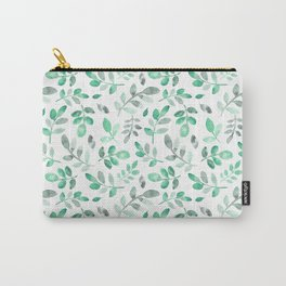 Watercolor green hand painted modern leaves pattern Carry-All Pouch