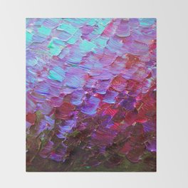 MERMAID SCALES - Colorful Ombre Abstract Acrylic Impasto Painting Violet Purple Plum Ocean Waves Art Throw Blanket