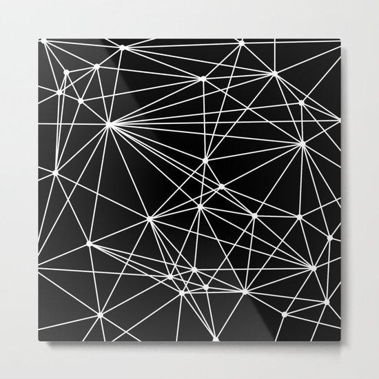 Black & White Geometric Web II Metal Print
