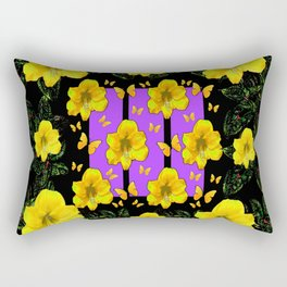 BLACK ART  YELLOW AMARYLLIS FLOWERS BUTTERFLY FLORAL Rectangular Pillow