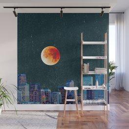Blood Moon over Denver Colorado Skyline Wall Mural