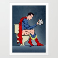 superheros Art Prints featuring Superhero On Toilet by WyattDesign
