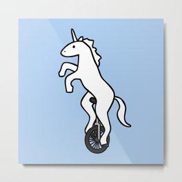 Unicorn on a Unicycle Metal Print