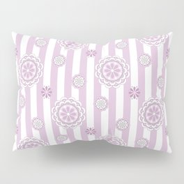 Mod Flowers in Rosy Pink and White Pillow Sham