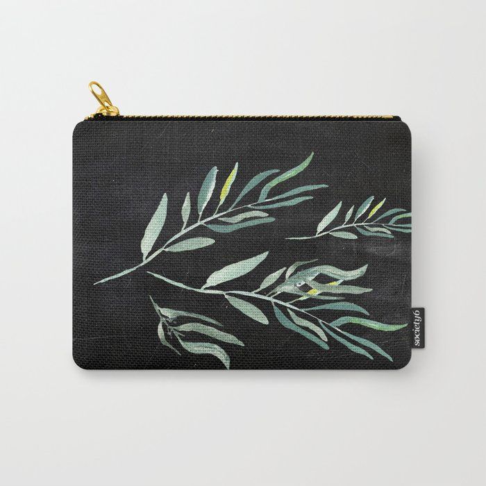 Eucalyptus Branches On Chalkboard II Carry-All Pouch