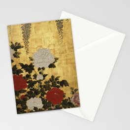 Vintage Japanese Floral Gold Leaf Screen With Wisteria and Peonies Stationery Cards