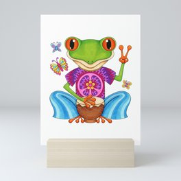 Peace Frog - Colorful Hippie Frog Art by Thaneeya McArdle Mini Art Print