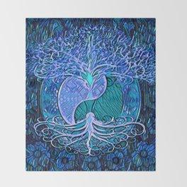Tree of Life Yin Yang Blue Throw Blanket
