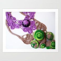 Lilac Lime Romanian Point  Lace Photography  Art Print
