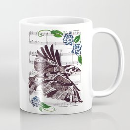 Quoth the Raven   (Raven and blue roses on sheet music) Coffee Mug