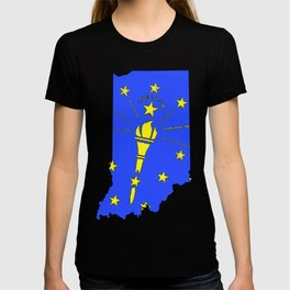Indiana Map with Indiana State Flag T-shirt