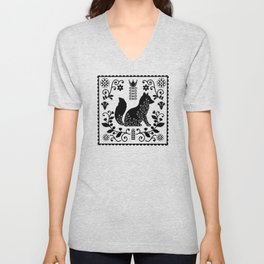 Woodland Folk Black And White Fox Tile Unisex V-Neck
