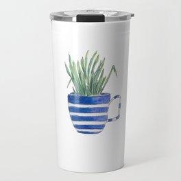 Blue stripes and chives Travel Mug