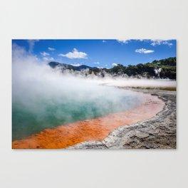 Champagne Pool hot lake in Waiotapu, Rotorua, New Zealand Canvas Print
