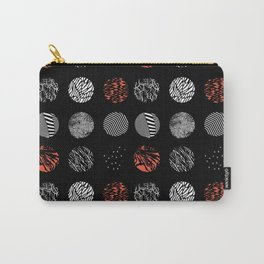 Digital art dark pattern abstract orange black white Carry-All Pouch