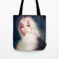 dark souls Tote Bags featuring Priscilla [Dark Souls] by JeyJey Artworks