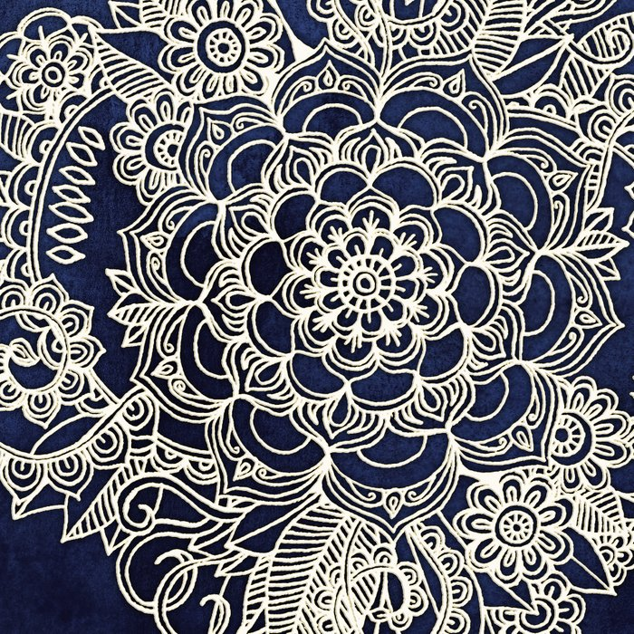 Cream Floral Moroccan Pattern on Deep Indigo Ink Leggings