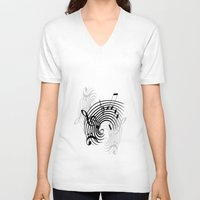 music notes V-neck T-shirts featuring Music Notes by Svetlana Sewell
