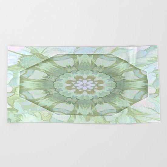 Soft Green Floral Kaleidoscope Beach Towel