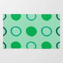 Green and Blue Dots Pattern on Soft Green 1 Rug