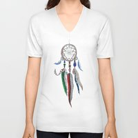 dreamcatcher V-neck T-shirts featuring Dreamcatcher by Ina Spasova puzzle